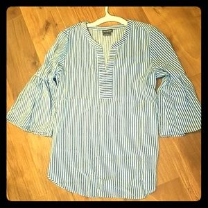 Blue and white striped bell sleeve shirt